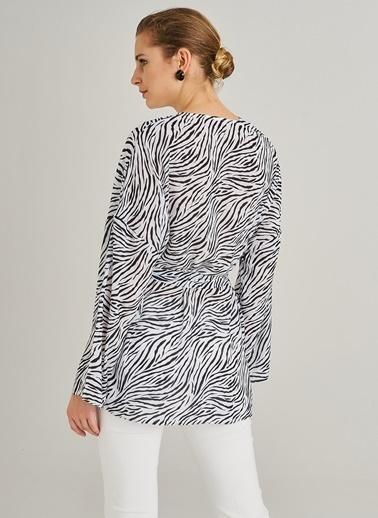 People By Fabrika Zebra Desenli Ceket Siyah